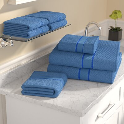 100% Egyptian Quality Cotton 8 Piece Towel Set Color: Blue