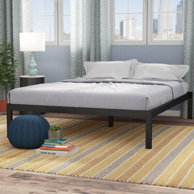 Avey Bed Frame Size: Queen, Color: Black