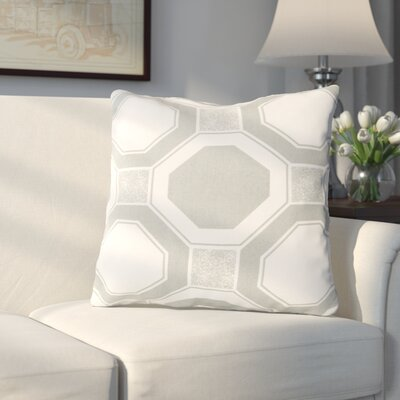 Valleyview by Hexagons Cotton Throw Pillow Color: Gray, Filler: Down