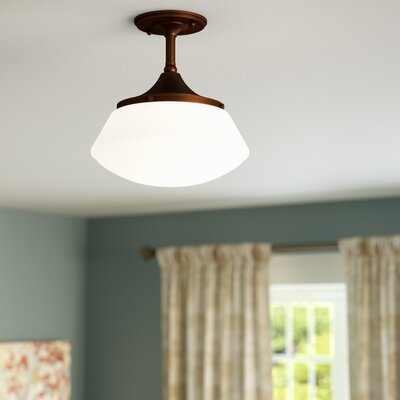 Savane 1-Light Semi-Flush Mount Finish: Burnished Bronze, Shade Color: Frosted