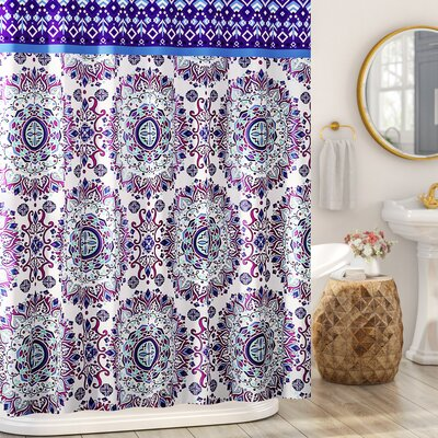 Loraine Mandala Burst Shower Curtain Color: Plum