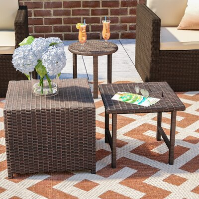 Agamemnon 3 Piece Wicker Side Table Set Finish: Brown