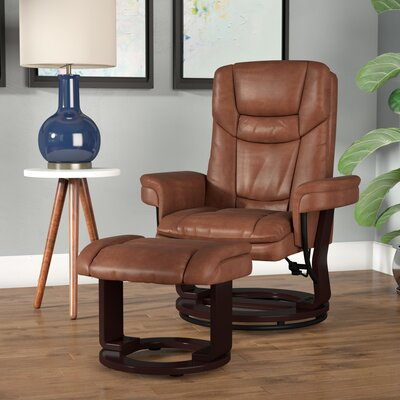 Lahaye Indigo Recliner with Ottoman Upholstery: Brown