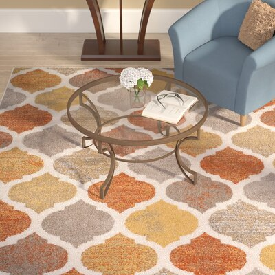 Seely Beige/Orange Area Rug Rug Size: 710 x 106