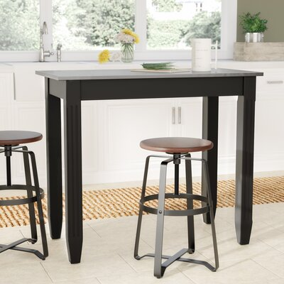 Citronelle Galvanized Counter Height Pub Table Color: Black