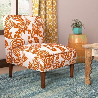 Slipper Chair Upholstery: Canary Tangerine, Finish: Espresso