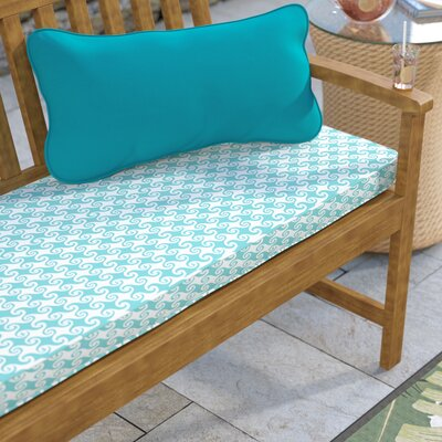 Estelle Waves Outdoor Bench Cushion Size: 3 H x 60 W x 19 D, Fabric: Aqua