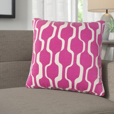 Arsdale Graphic Print Square Cotton Throw Pillow Color: Hot Pink/ White