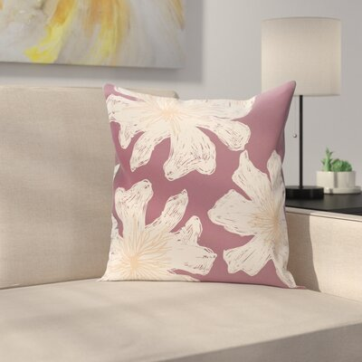 Arkwright Floral Throw Pillow Size: 18 H x 18 W, Color: Plum / Peach