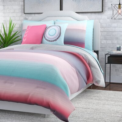 Mesilla 10 Piece Reversible Bed in a Bag Set Size: Queen, Color: Coral / Blue