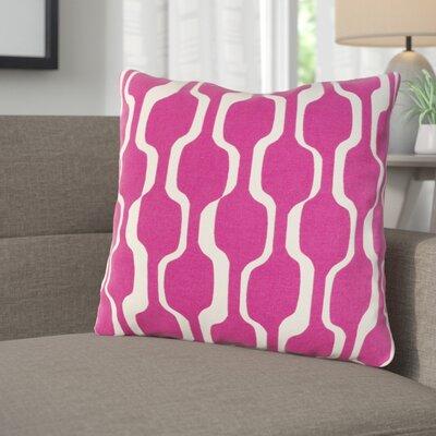 Arsdale Graphic Print Woven Cotton Throw Pillow Color: Hot Pink/ White