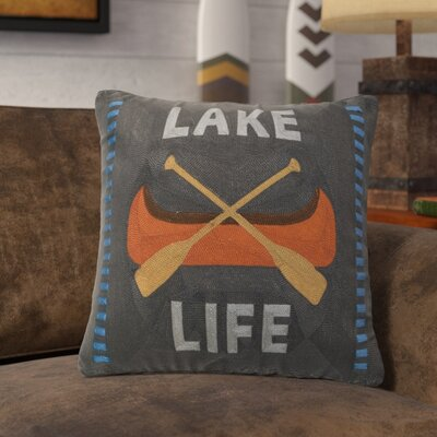 Lemelle Lake Life Chain Stitch Rustic Throw Pillow