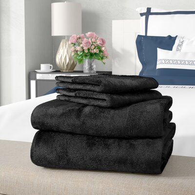 Balderston Super Soft Plush Sheet Set Size: King, Color: Black