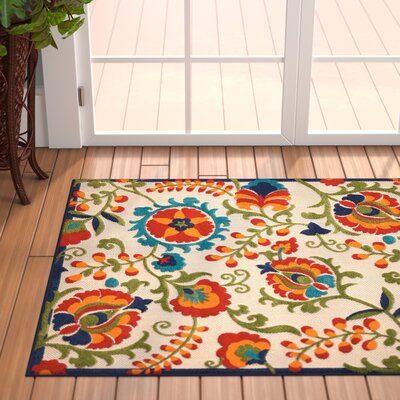 Donohoe Beige/Green Indoor/Outdoor Area Rug Rug Size: 36 x 56