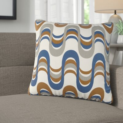 Arsdale Wave Cotton Throw Pillow Color: Navy/ Gray Multi