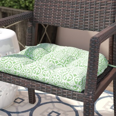 Callery Printed Fretwork 3M Scotchgard Outdoor Dining Chair Seat Cushion Fabric: Green