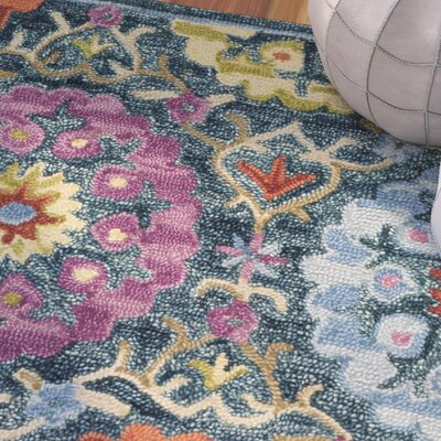 Suzani Hand Hooked Blue/Yellow Area Rug Rug Size: Rectangle 8' x 10'