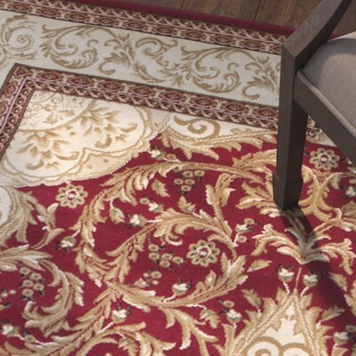 Arpdale High-End Ultra-Dense Thick Bordered Floral Red Area Rug Rug Size: 53 x 75