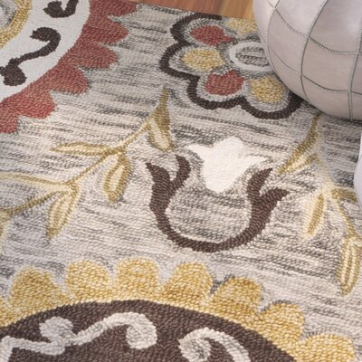 Tomo Hand-Hooked Gray/Yellow Area Rug Rug Size: Rectangle 5 x 8