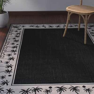 Granada All Weather Indoor/Outdoor Black Area Rug Rug Size: 5 x 7