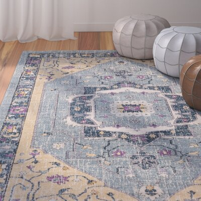 Fonteyne Blue/Tan Area Rug Rug Size: Rectangle 53 x 76