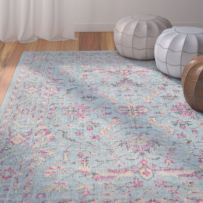 Randhir Teal/Pink Area Rug Rug Size: Rectangle 53 x 76