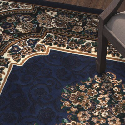 Arkin High-Quality Floral Double Shot Drop-Stitch Carving Navy Area Rug Rug Size: 52 x 72