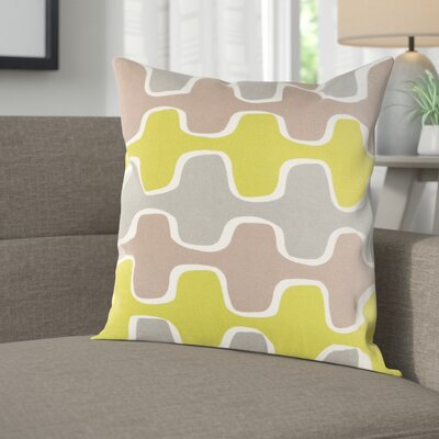 Arsdale Square Cotton Throw Pillow Cover Color: Lime/ Gray/ Taupe