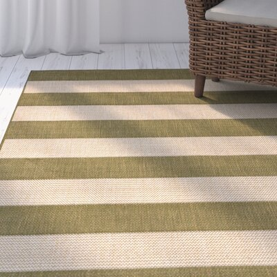 Kensa Green/Beige Indoor/Outdoor Area Rug Rug Size: Runner 111 x 76