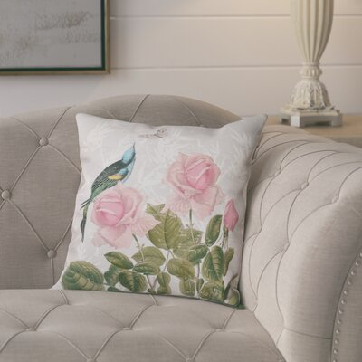 Lablanc Asian Rose Floral Print Throw Pillow Size: 26 H x 26 W, Color: Gray