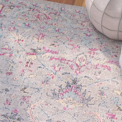 Randhir Floral Gray/Pink Area Rug Rug Size: Rectangle 53 x 76
