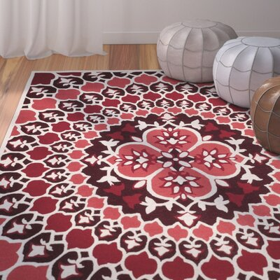 Bellagio Hand-Tufted Red/Ivory Area Rug Rug Size: Rectangle 8 x 10