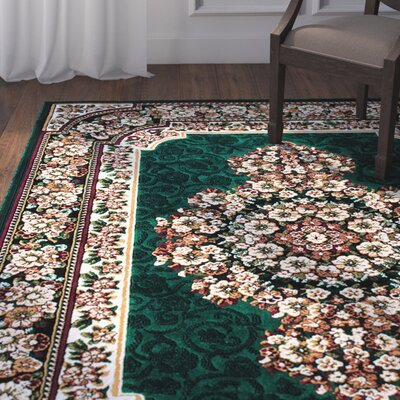 Arkin High-Quality Floral Double Shot Drop-Stitch Carving Hunter Green Area Rug Rug Size: 710 x 102