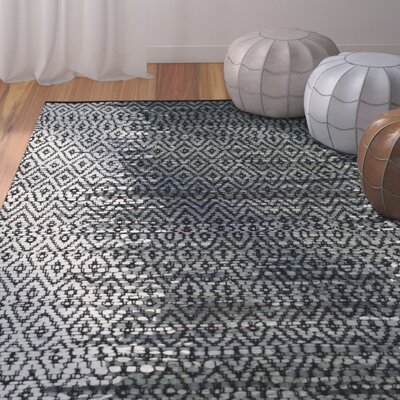 Logan Hand-Woven Light Grey/Charcoal Area Rug Rug Size: Round 4