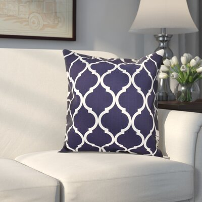 Louis Geometric Print Throw Pillow Size: 16 H x 16 W x 1 D, Color: Navy Blue