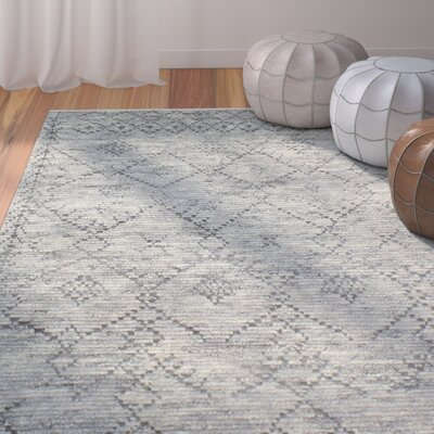 Floressa Hand-Knotted Gray Area Rug Rug Size: 76 x 96
