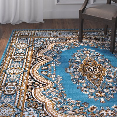 Arison High-Quality Woven Light Blue Area Rug Rug Size: 77 x 106