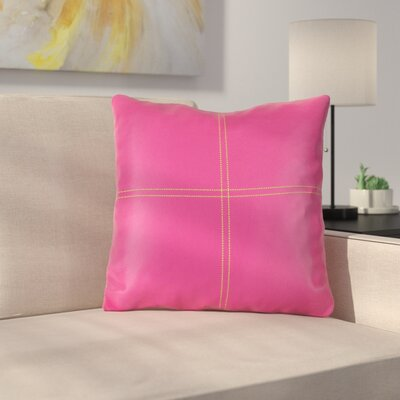 Caresse Faux Leather Throw Pillow Color: Pink