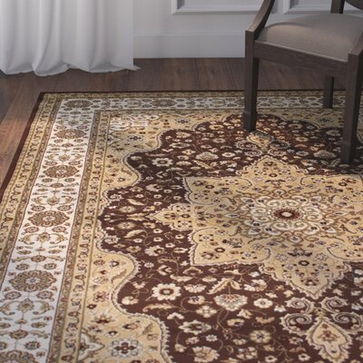Arison High-Quality Vintage Oriental Chocolate Area Rug Rug Size: 77 x 105