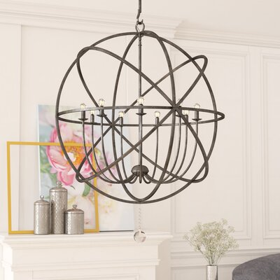 Gregoire 9-Light Candle-Style Chandelier Finish: English Bronze