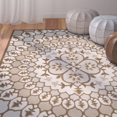 Blokzijl Hand-Tufted Ivory/Dark Beige Indoor Area Rug Rug Size: Square 5