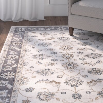 Arnot Ivory/Gray Area Rug Rug Size: 53 x 77