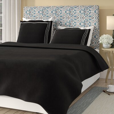Garrick Embroidered Reversible Solid Duvet Set Color: Black/White, Size: Full / Queen
