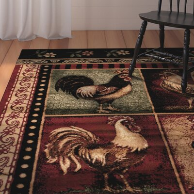 Colombier High Quality Woven Ultra-Soft Traditional Southwest Wilderness Rooster Theme Red Area Rug Rug Size: 52 x 72