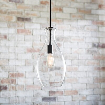 Jewell 1-Light Mini Pendant Base Finish: Olde Bronze, Size: 29.75 H x 10.75 W x 10.75 D, Shade Color: Mercury