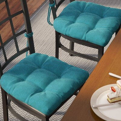 Microsuede Fabric Dining Chair Cushion Color: Aqua Blue