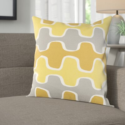 Arsdale Square Cotton Throw Pillow Cover Color: Lemon Yellow/ Mustard Yellow/ Gray