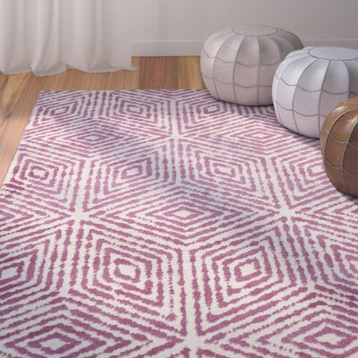 Durant Cubes Ivory/Purple Area Rug Rug Size: 710 x 910