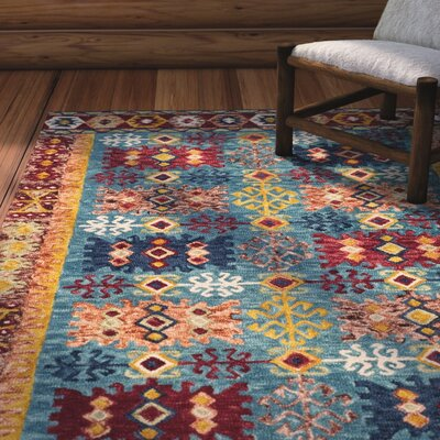 Bobigny Hand-Tufted Blue/Red Area Rug Rug Size: Round 7 x 7