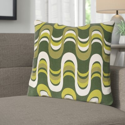 Arsdale Square Graphic Print Cotton Throw Pillow Color: Olive Multi